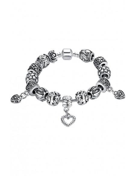 Bratara placata cu argint tip Pandora, cu inimioare, spirale si stelute