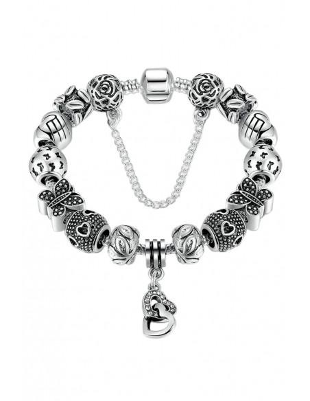 Bratara tip Pandora placata cu argint, fluturasi, inimioare si flori