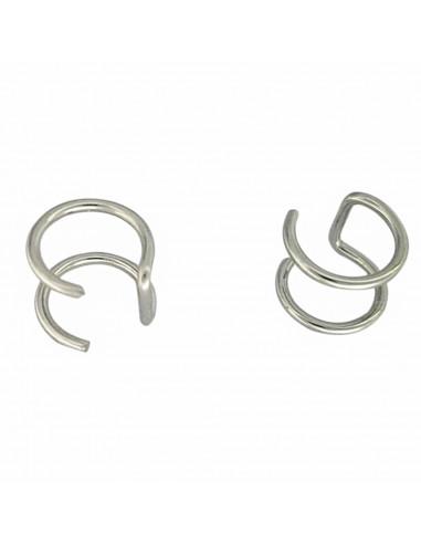 Cercel ear cuff, model dublu cu inele