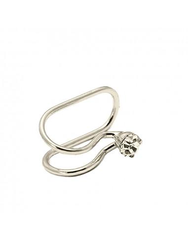 Cercel ear cuff, model simplu cu cristal rotund, foarte mic si delicat