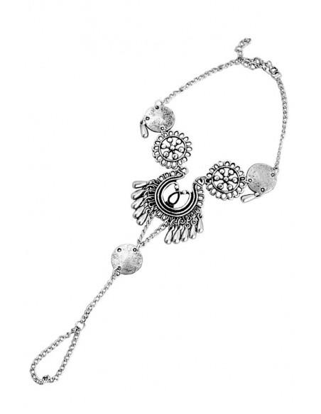 Bratara boho cu inel pentru glezna, medalioane rotunde si banuti