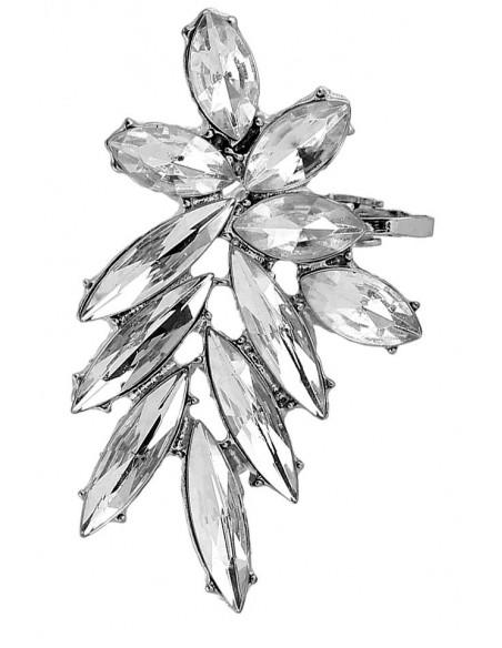 Cercel ear cuff statement, Winter Flower, cu cristale albe ascutite