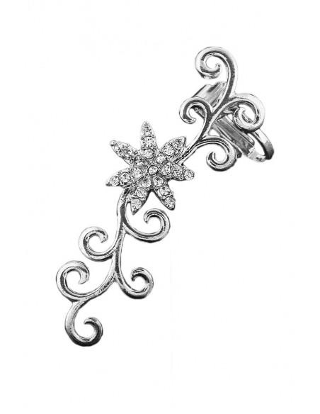 Cercel ear cuff, floare cu cristale si frunzulite rasucite