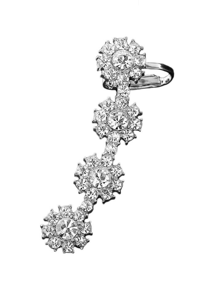 Cercel ear cuff cu patru flori rotunde, cu cristale albe