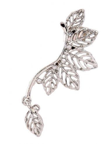 Cercel ear cuff ramura cu frunze arcuite pe ureche si cristale la baza