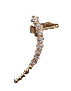 Cercel ear cuff elegant, tija arcuita cu cristale albe si bilute metalice