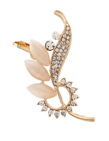 Cercel ear cuff statement, cu cristale albe opace alungite, in forma de floare