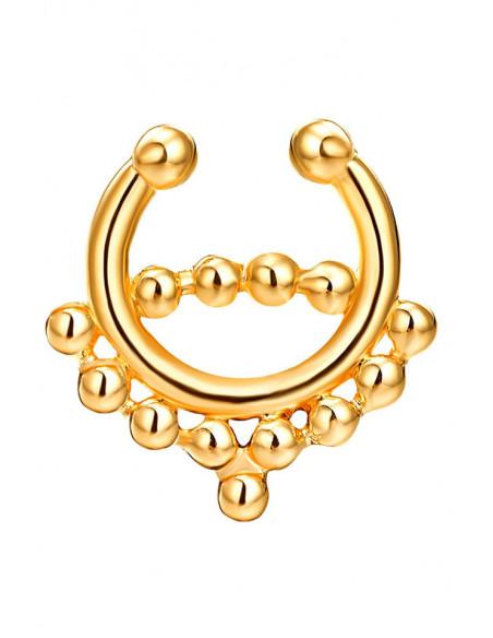 Inel fals pentru nas Septum Ring cu doua siraguri de margelute
