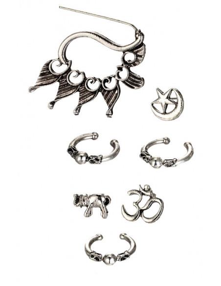 Set cercei si ear cuff, cu elefant, OM si semiluna, model boho patinat
