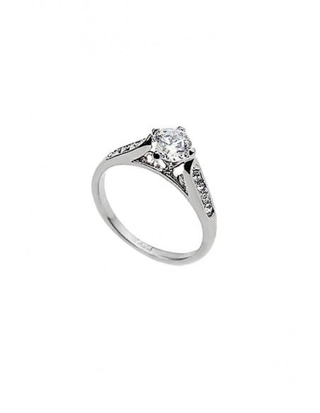 Inel argintiu cu cristale, inel de logodna