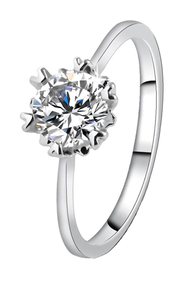 Inel de logodna elegant, cu zirconie cubica, placat cu argint