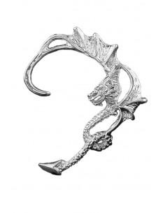 Cercel ear cuff, model cu dragon auriu cu aripi lungi