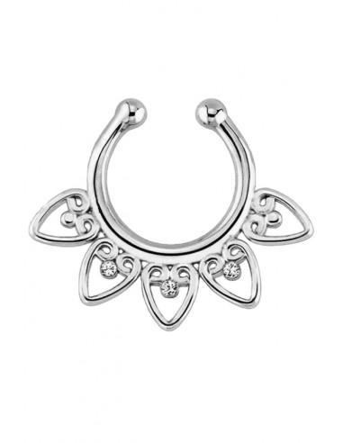 Inel fals pentru nas Septum Ring inimioare cu cristale, piercing fals