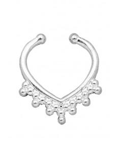 Inel fals pentru nas Septum Ring, coronita inimioara, piercing fals