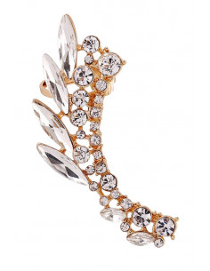 Cercel ear cuff statement, Elf Wings, cu cristale albe ascutite
