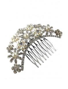 Pieptene de par pentru mireasa, flori rotunde cu perle si cristale
