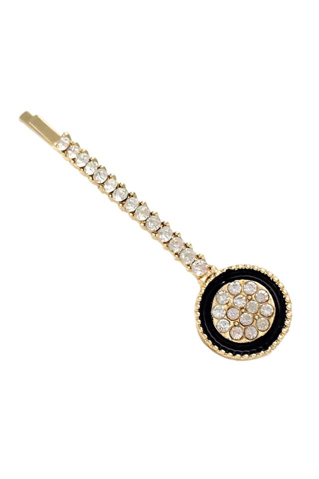 Agrafa pentru par eleganta, medalion rotund cu email negru