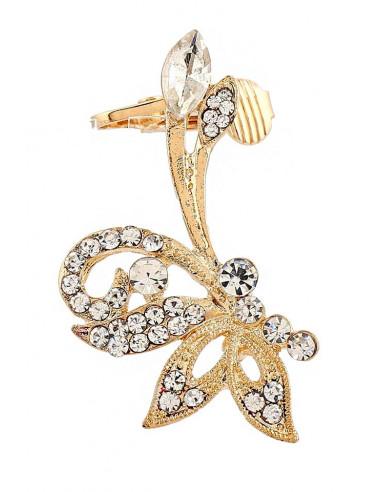 Cercel ear cuff elegant, fluture cu cristale albe pe aripi si antene