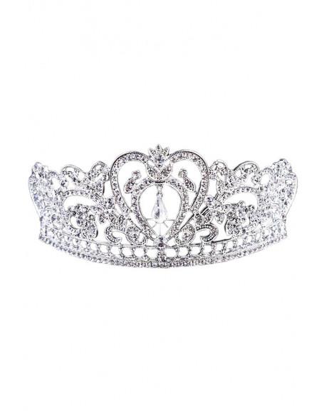 Tiara eleganta Queen Victoria, ramurele cu flori, inimioara si cristale