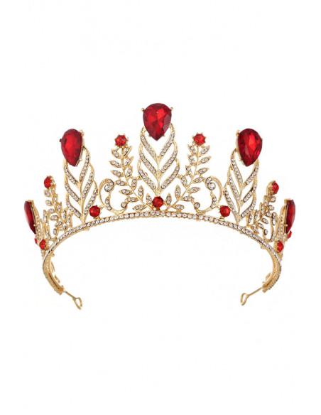Tiara masiva aurie, Lady of the Forest, frunze si cristale mari mov
