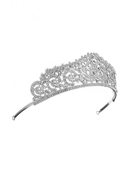 Tiara argintie Parisian Winter, frunzulite cu cristale albe