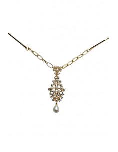 Accesoriu pentru par cu agrafe, auriu cu cristale si perle