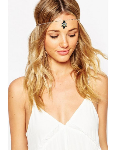 Bentita hippie aurie cu medalion vintage cu cristale albe si negre