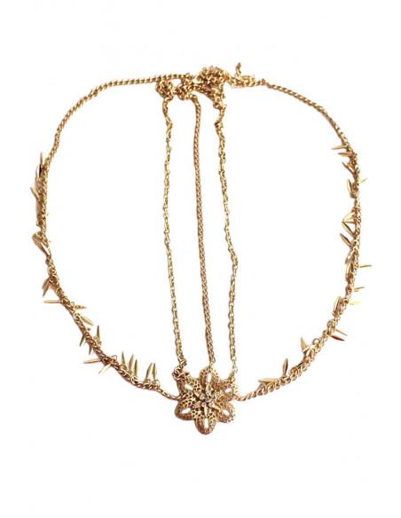 Bentita pentru par cu lantisoare si medalion floare