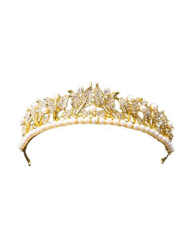 Tiara Wedding Gift, cu perle, frunzulite si cristale albe