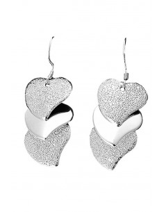 Cercei eleganti, placati cu argint, trei inimioare lucioase suprapuse