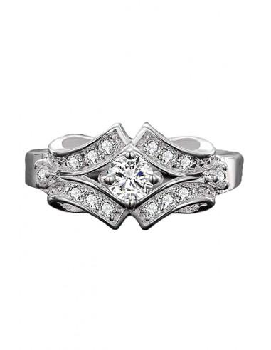 Inel de logodna placat cu argint, cu cristale, model fundite