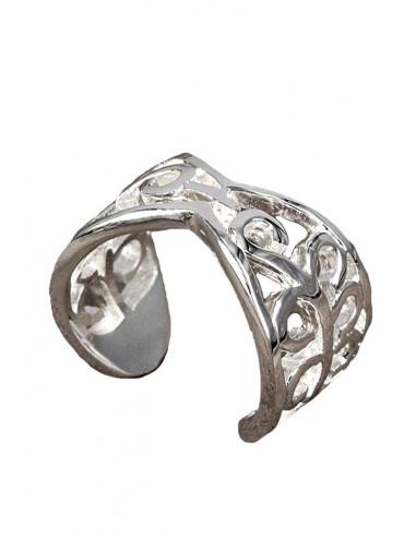 Inel placat cu argint, model infinit cu ramuri rasucite