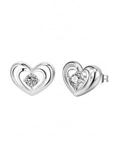 Cercei placati cu argint, inimioare duble cu zirconii colorate