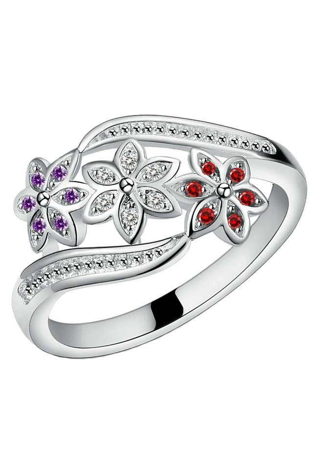 Inel placat cu argint, trei flori cu cristale zirconiu rosu alb si mov