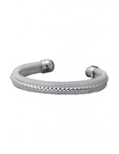 Bratara placata cu argint, tip cuff, cu plasa fina si spirala pe centru