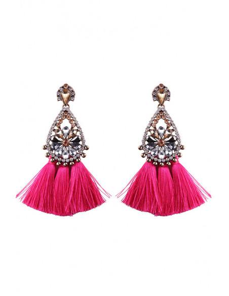 Cercei luxury Fringed Flowers, medalion cu cristale si canafi lungi