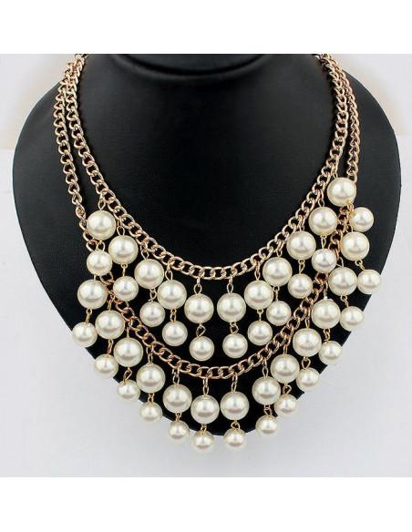 Colier dublu cu perle mari si lanturi aurii