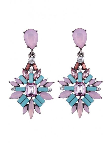 Cercei statement eleganti, Northern Star cu cristale colorate