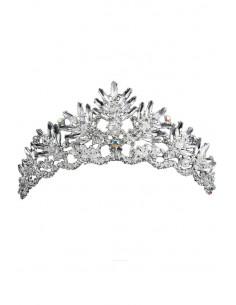Tiara argintie Fern Crown, cristale ascutite si margelute albe