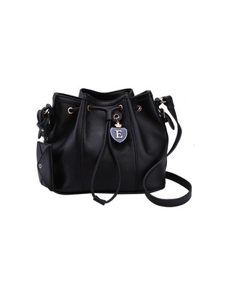 Geanta stil sac, neagra, cu emblema eleganta si mini-portofel decorativ