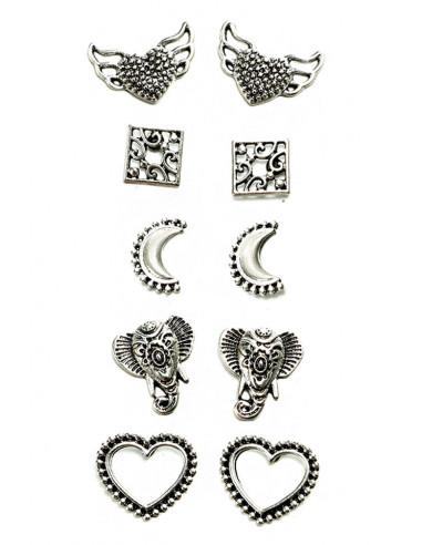 Set 5 perechi de cercei vintage, inimioare, elefanti si semilune