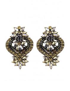 Cercei luxury Madame Loulou, model baroc auriu cu cristale mici
