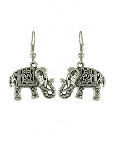 Cercei argintii, model indian cu elefanti decorati cu flori