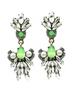 Cercei eleganti Riflesso cu perle si cristale albe si verzi
