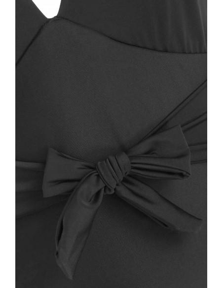 Costum de baie intreg, negru, cu funda in talie