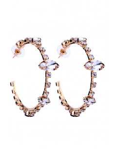 Cercei luxury Crystal Hula Hoops, cu cristale rotunde si cat-eye