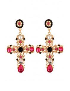 Cercei statement, model baroc, cruci mari aurii cu cristale