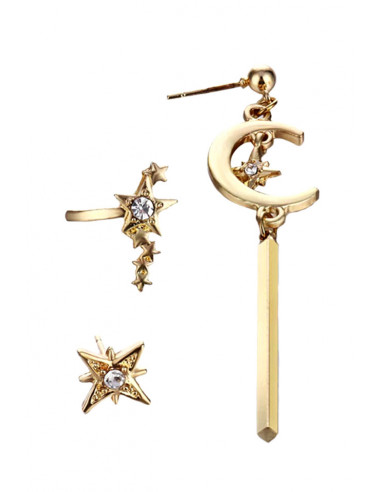 Set trei cercei eleganti, stele si semiluni cu cristale albe