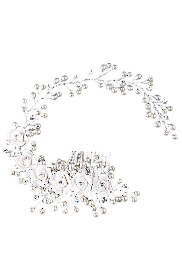 Pieptene de par pentru mireasa, flori ceramice, perle si fir lung