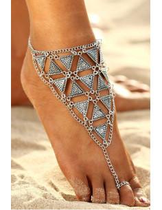 Bratara cu inel, pentru glezna, elemente triunghiulare si lantisoare